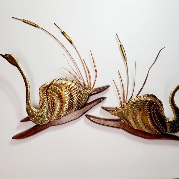 Pair of Mid Century Modern Brass Swan & Cattail